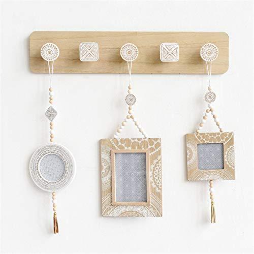 mylifemylove Perchero rústico para colgar ropa, toallero de madera, colgador de pared, colgador decorativo para colgar llaves, estante de pared (5 ganchos)