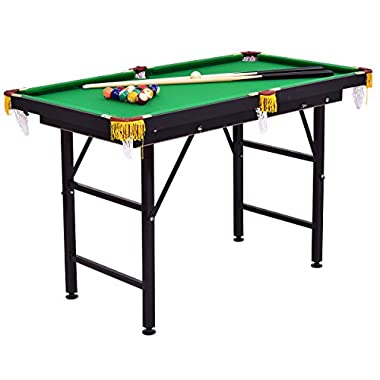 Costzon 47  Folding Billiard Table, Pool Game Table Includes Cues, Triangle, Chalk, Brush for Kids