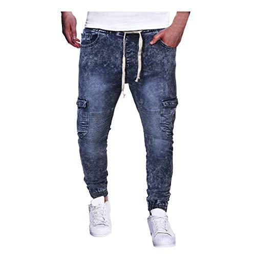 Qinhanjia Herrenmode Vintage Kordelzug Elastic Wash Disstressed Denim Slim Hose Jeans Jogginghose, Art und Weise Beiläufige Weinlese Elastische Wäsche Betonte Denim Dünne Hosen Jeans