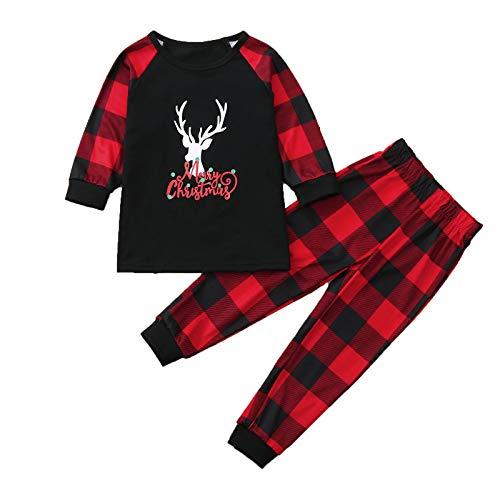 Pijamas de Navidad Familia Ropa de Noche Homewear Algodn Camisas de Manga Larga + Pantalones Largos Sudadera Invierno Conjunto de Pijamas Familiar Bebs Nios Pap Mam