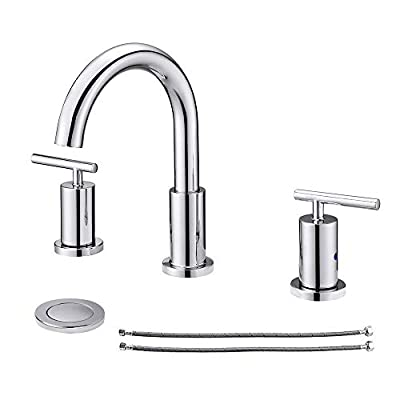 NEWATER 2-Handle 8 inch Widespread Three Hole Bathroom Sink Faucet with Pop Up Drain & Supply Lines Basin Faucet Mixer Tap ,Polished Chrome(CWF030-C)