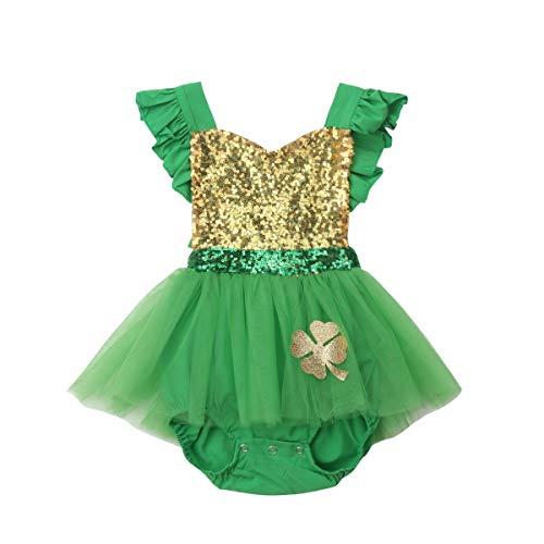 AIKSSOO 2019 vêtements de Tulle de Coton Mignon Nouveau-né bébé Fille Barboteuse Patchwork Combinaison Jersey (Color : Green, Kid Size : 24M)