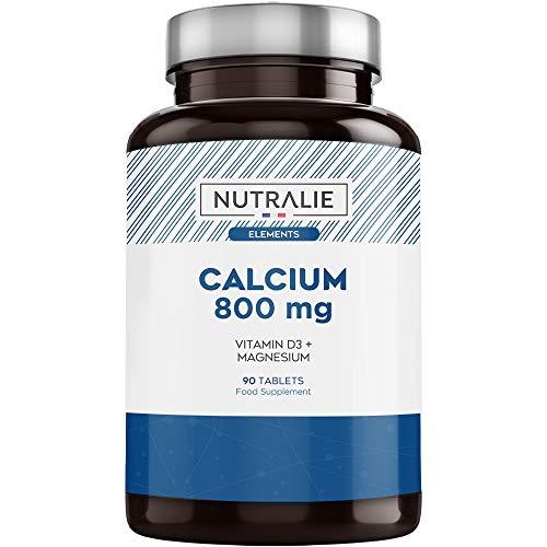 Calcio 800 mg con Magnesio y Vitamina D | Mantenimiento de Huesos, Dientes y Músculos Normales con Calcio, Magnesio y Vitamina D3 de Alta Absorción | 90 comprimidos Nutralie