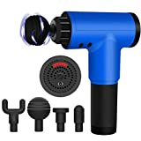 Massage Gun,6 Speed High-Intensity Vibration for Athletes Deep Tissue Massager Impact Device Handheld Muscle Electric Gun,Muscle Massager Quiet Brushless Motor with 4 Heads (Blue)