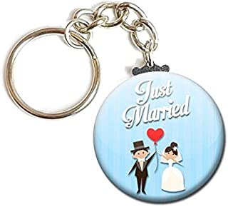 Porte Clés Chaînette 3,8 centimètres Just Married Idée Cadeau Accessoire Accessoire Mariage Evjf