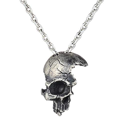 Moca Jewellery Iced Out Retro Half Broken Skull Pendant Silver Plated Hip Hop Punk Cosplay Halloween Party Necklace for Men Women