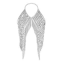 Silver-2 Shoulder Necklaces Bra Party Wear