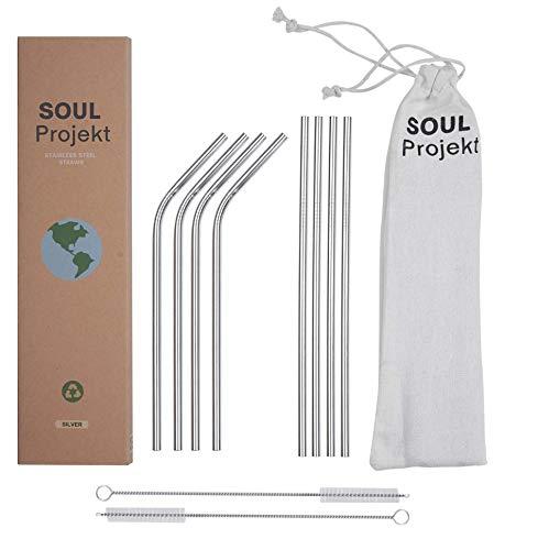 Soul Projekt Strohhalme Wiederverwendbar, 304 Edelstahl - Metallstrohhalm mit Reinigungsbürste & Tasche, Perfekt für Zuhause & Reisen (Silber)
