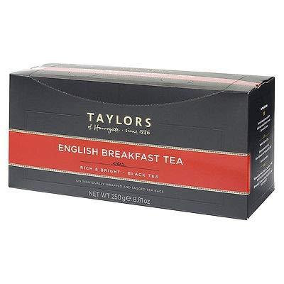 Taylors of Harrogate Black Tea Desayuno inglés Ho.Re.Ca. - 1 x 100 bolsitas de té empaquetadas individualmente (250 gramos)