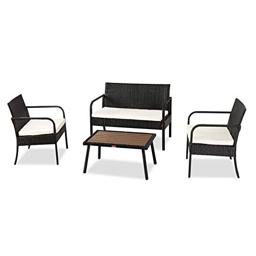 Best Choice Outdoor Patio Yard Kitchen Garden Bistro Rattan Furniture, Solid Wood Coffee Table, Leisure Rattan Table Rattan Chair Small Four-Piece, Black