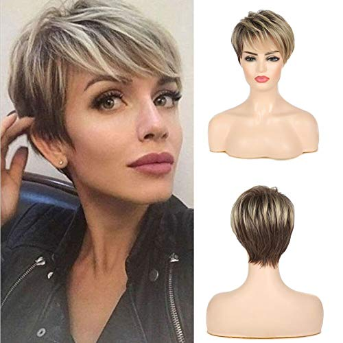 Swiking Short Pixie Cut Light Blonde Mix Brown Layered Ombre Wig with Bangs Women Fluffy Natural Synthetic Heat Resistance Hair Wigs