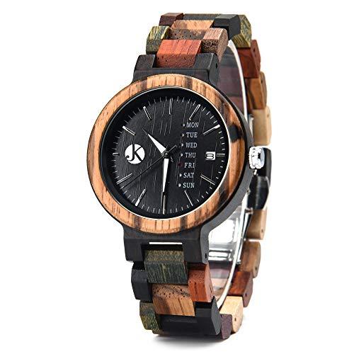 Kim Johanson Damen Holz-Edelstahl Armbanduhr *Colorful Week* mit Datum- & Tagesanzeige Handgefertigt Quarz Analog Uhr inkl. Geschenkbox