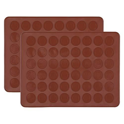 GARCENT Macaron Silicone Mat Set of 2, Non-Stick Silicone Macaron Baking Mold, 48 Capacity Macaroon Kit