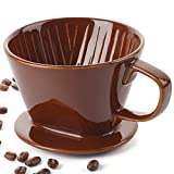 DOWAN Pour Over Coffee Dripper, Non Electric Pour Over Coffee Maker, Porcelain Slow Brewing Accessories for Home, Cafe, Restaurants, Easy Manual Brew Maker, Brown