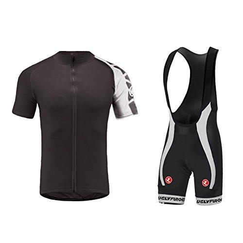 UGLY FROG Herren Radtrikot Set, Atmungsaktiv Schnell Trocken Radfahren Kleidung mit Bib Shorts Mit 20D Sitzpolster MTB, Rennrad