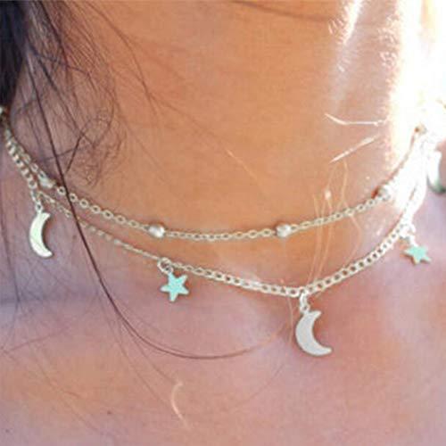 Yienate Collar para mujer y adolescente de doble capa simple luna y estrella colgante para niñas (plata)