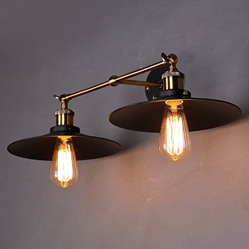 JJZHG wandlamp wandlamp waterdichte wandverlichting Country Retro wandlamp dubbelkop zwart scherm wandlamp, lampenkap diameter 21 cm bevat: wandlamp, stoere wandlampen