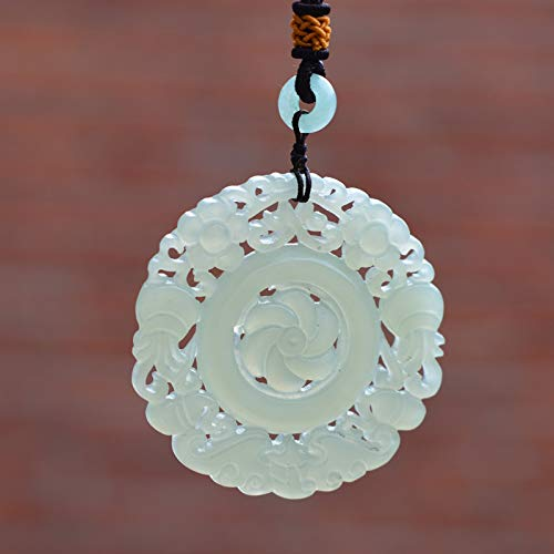 Natural HETIAN Jades Stone Pendant Carved Hollow-Out Round Flower Disk Pendant Necklace Women