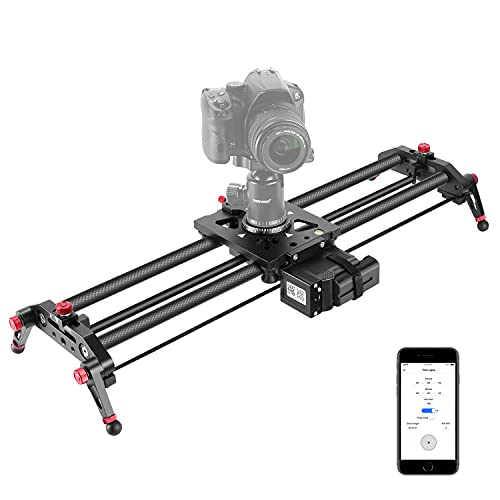 Neewer Camera Slider Motorized, 31.5-inch APP Control Carbon Fiber Track Dolly Rail with Time Lapse Video Shot Follow Focus Shot and 120 Degree Panoramic Shooting for DSLR Cameras, Load up to 22 lbs