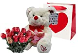 Valentines Day Gift Basket | 10 Inches Teddy Bear Plush (Color May Vary), Valentine Theme Gift Bag &...