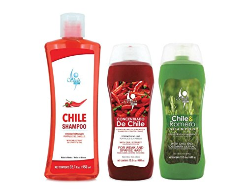 Shampoo de Chile Shelo NABEL Hair Growth Stimulating (Unisex) Anti Hair Loss with Natural Chili Extract + Crece y Detiene la Caida de Cabello con Extracto Natural de Chile