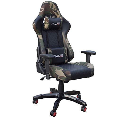 Gharpbik Gaming Stuhl Bürostuhl Schreibtischstuhl mit Armlehne Gamer Stuhl Drehstuhl Höhenverstellbarer Gaming Sessel PC Stuhl Ergonomisches Chefsessel (Ohne Fußstütze)
