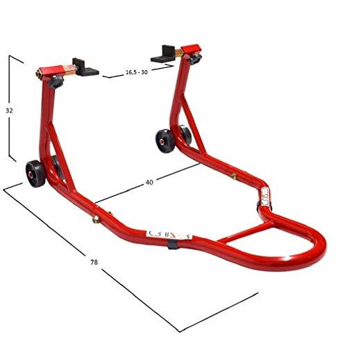 Cruizer - Cavalletto posteriore rosso con attacchi a piastre per moto con barre di rinforzo laterali regolabili e 4 ruote sottostanti