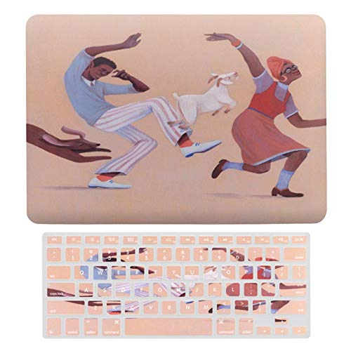 Plastic Hard Shell Case & Keyboard Cover Compatible with MacBook Air 13 inch/MacBook Air Pro 13' (Models: A1369 & A1466/ A2159/A1989/A1706), Illustration Art Dance