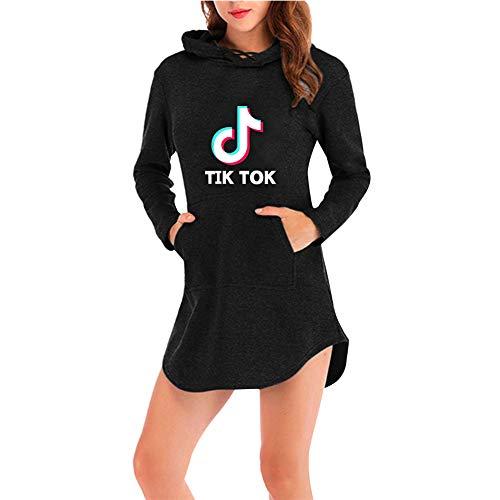 TIK Tok Vestido Asimetrico Mujer Manga Larga Camisa Irregular Tunica con Capucha Sudadera Pullover Hip Hop Caftan Blusa Top Camisetas Otoño Invierno Sueter Streetwear Mini Dress C00605LY021S