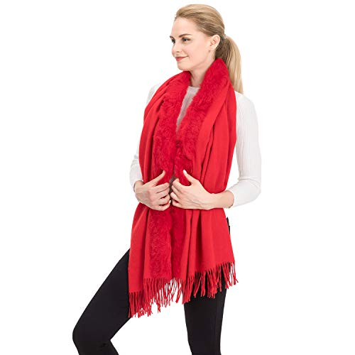 Harmler Cashmere Scarf Handmade Scarves Wedding Blanket Stole Shawl for Evening Party Dresses Gift Set Boxed Red