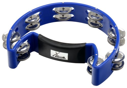 XDrum Hand Tambourin Halbmond Form (Tambourine, Pecussion, 16 Paar verchromte Schellen, Kunststoff) blau
