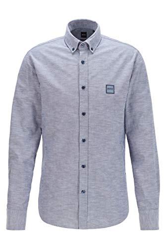 BOSS Herren Mabsoot 1 Slim-Fit Hemd aus Oxford-Baumwolle mit Logo-Aufnäher aus Jacquard