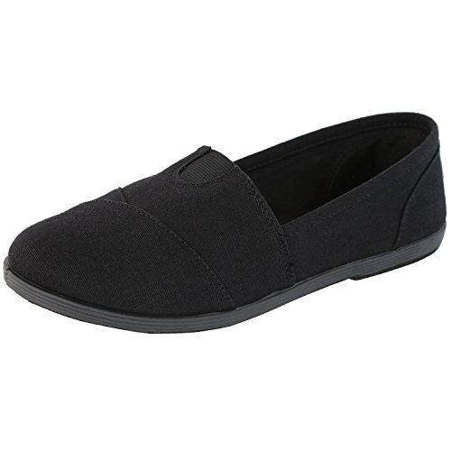 DailyShoes Extra Cushioned Casual Flats Flat Shoe Loafer Boat Slip On Classic Shoes Spring Round Toe Outdoor Ultra Breathable Resistant Walker-02 Black Linen 6