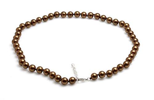 Schmuckwilli Südsee Tahiti Damen Muschelkernperlen Perlenkette aus echter Muschel braun 45cm 8mm mk8mm009-45