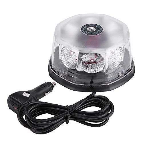 Ladieshow 8 LED 40W 12-24V Luz de advertencia estroboscópica de techo de coche montada magnética Luz de emergencia intermitente(Rojo azul)