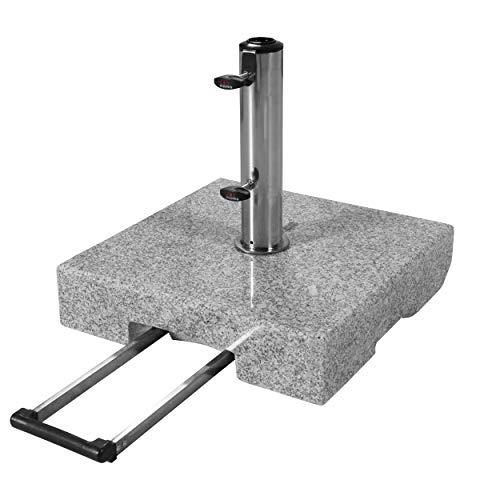 doppler Granit-Sonnenschirmständer mit Ausziehgriff 45kg – Hochwertiger Sockel mit Edelstahlrohr – Mit 2 Rollen und Zuggriff