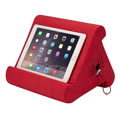 Flippy with New Storage Cubby Multi-Angle Soft Pillow Lap Stand for iPads, Tablets, eReaders, Smartphones, (Super Red)