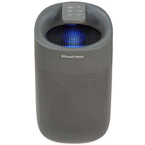 Russell Hobbs RHDH1101G 1L 2 in 1 Grey Dehumidifier/Air Purifier with HEPA Filter, 20m2 Room Size, LED Lighting & Captures Bacteria, for Home, Kitchen, Basement, Garage, Caravan, Bathroom