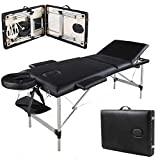 3 Section Folding Aluminium Massage Table Couch Bed Adjustable Height from 60cm-85cm, 500lbs