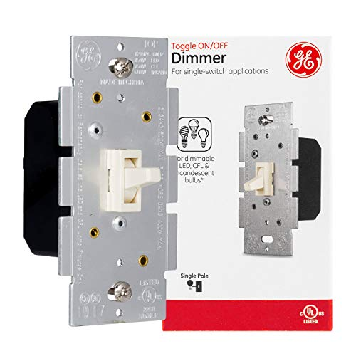 GE Almond, Light, Single Pole Toggle Dimmer, Wall Switch, Dimmable LED, CFL, Incandescent Bulbs, UL Listed, 18053,Light Almond