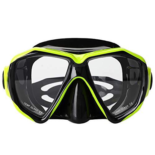 Yyqtgg Máscara de Buceo cómoda, Amarilla + Negra Máscara de Snorkel 17.5 * 10.5 * 7 cm 42 * 12 cm Sistema de Parada de Agua Gel de sílice licuado y PC y PVC y Vidrio Templado