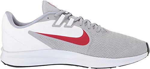 Nike Men's Downshifter 9 Running Shoe, Wolf Grey/University red-White, 8.5 Regular US