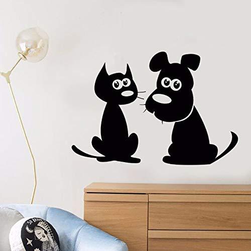 Vinyl Aufkleber Cartoon Katze Hund Wandtattoo Abnehmbare Puppy Pet Shop Decor Tier Freunde Aufkleber Niedlichen Haustiere Vinyl Wandbild62x42 cm