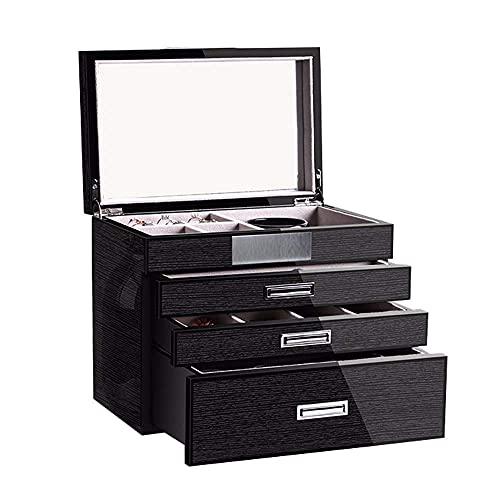 WOZUIMEI Organizador de Caja de Joyería Caja de Joyería de Pintura de Piano de Madera Maciza con 3 Cajones Y Gran Capacidad de Espejo Grande para Almacenamiento en el Hogar