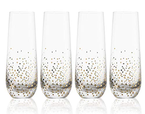 Trinkware Goldosa Stemless Champagne Glasses With Gold Luster, Set of 4, 9oz