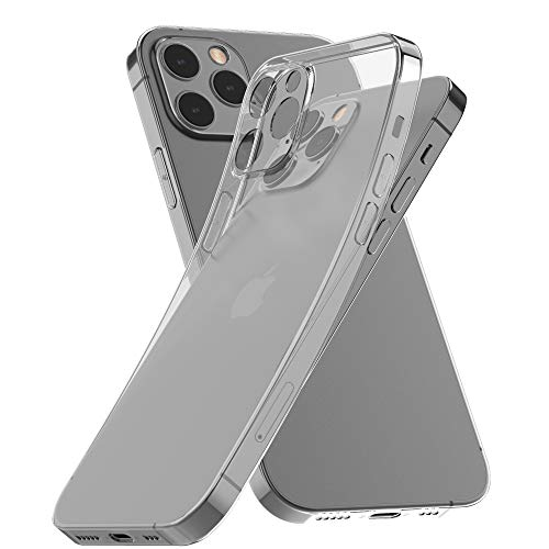 LEONAS Funda transparente para iPhone 12 Pro, de silicona, compatible con iPhone 12 Pro, ultrafina, flexible, antigolpes, para iPhone 12 Pro, transparente