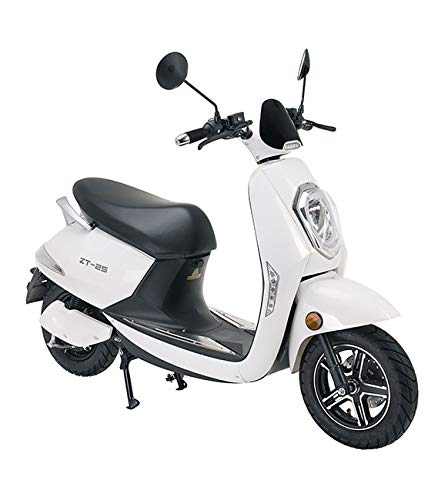 VELECO Scooter eléctrico Adulto E-Scooter 1200W Retro Vespa Moto Ciclomotor 45km/h Blanco