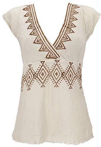 GURU SHOP Goa Top, Psytrance, Bedrucktes Bandeau Top, Choli, Beige, Baumwolle, Size:S/M (36), Tops & T-Shirts Alternative Bekleidung