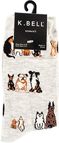 K. Bell Women's Lover Novelty Casual Crew Socks, Dogs Sitting (Grey), Shoe Size: 4-10