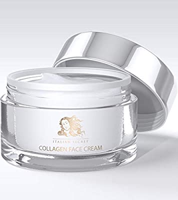 Collagen Cream for Face - Made in ITALY - Anti Aging Facial Moisturizer Firming Against Wrinkles and Fine Lines Organic Ingredients Vitamin E, Hyaluronic Acid, Natural Grape Seed, Papaya Extract